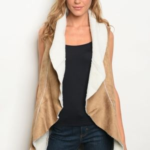 Openfront sherpa lined suede long vest TO-FS420273